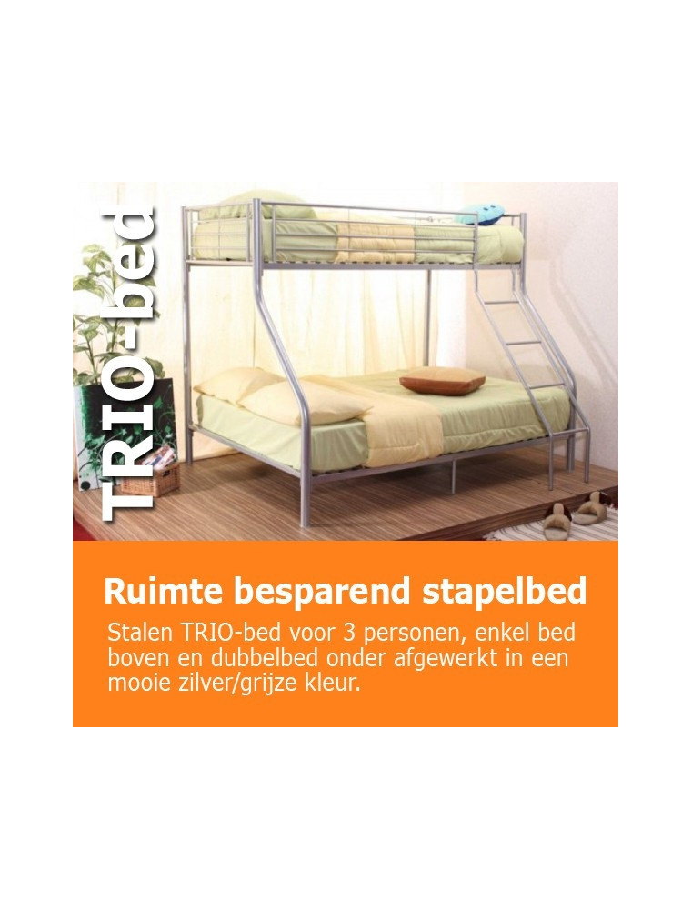 Stapelbed Met Dubbel Bed.3 Persoons Stapelbed Trio 90 140x200