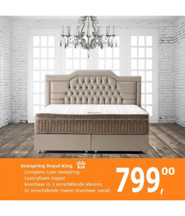 Boxspring Royal King | Complete set incl. 8cm topper - Taupe