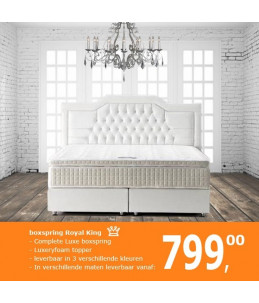 Boxspring Royal King | Complete set incl. 8cm topper - OffWhite
