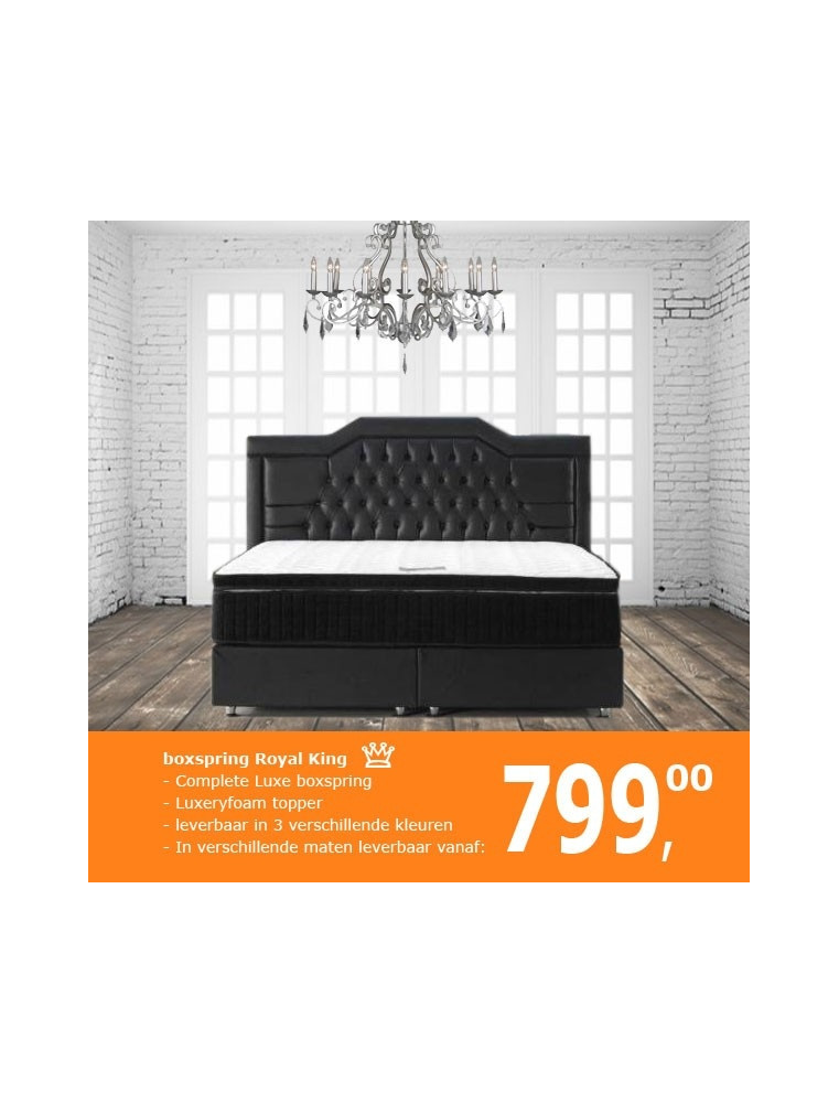 Boxspring Royal King | Complete set incl. 8cm topper - Black
