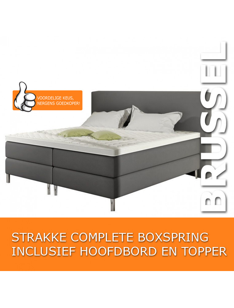 "Boxspring ""Brussel"" Complete Set lederlook + Gratis Topper Grijs"